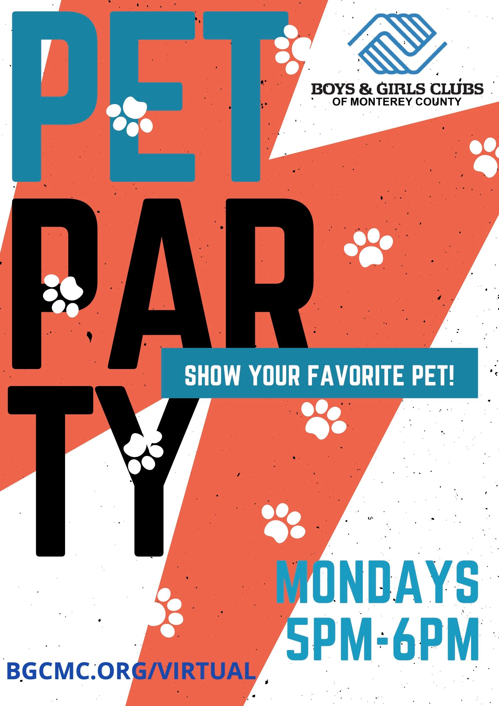 Boys and Girls Club Pet Party Mondays