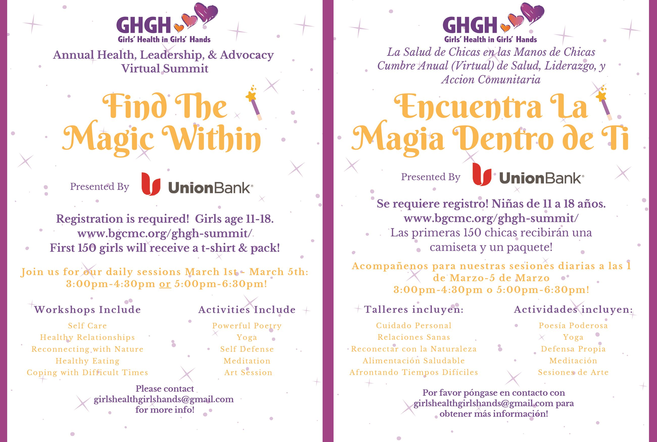 2GHGH Find the Magic Within Summit 2021 English and Spanish Flyers